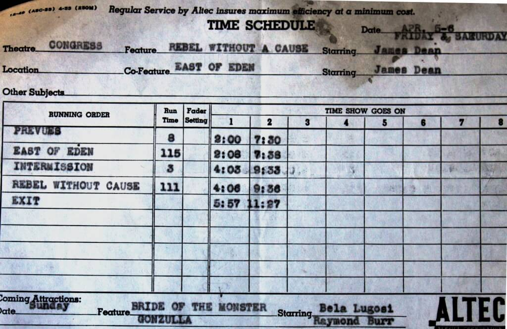 """An old Congress Theater time schedule, discovered by the building's current owner during renovation. The schedule depicts an April 1957 screening of a James Dean double featuring """"Rebel Without A Cause,"""" and """"East of Eden,"""" with Sunday's attraction featuring """"Bride of the Monster,"""" starring Bela Lugosi, and (presumably) """"Godzilla, King of the Monsters!"""" with Raymond Burr.  The Congress Hall ballroom was converted into the Congress Theater, which seated 1,400 and opened in 1919."""