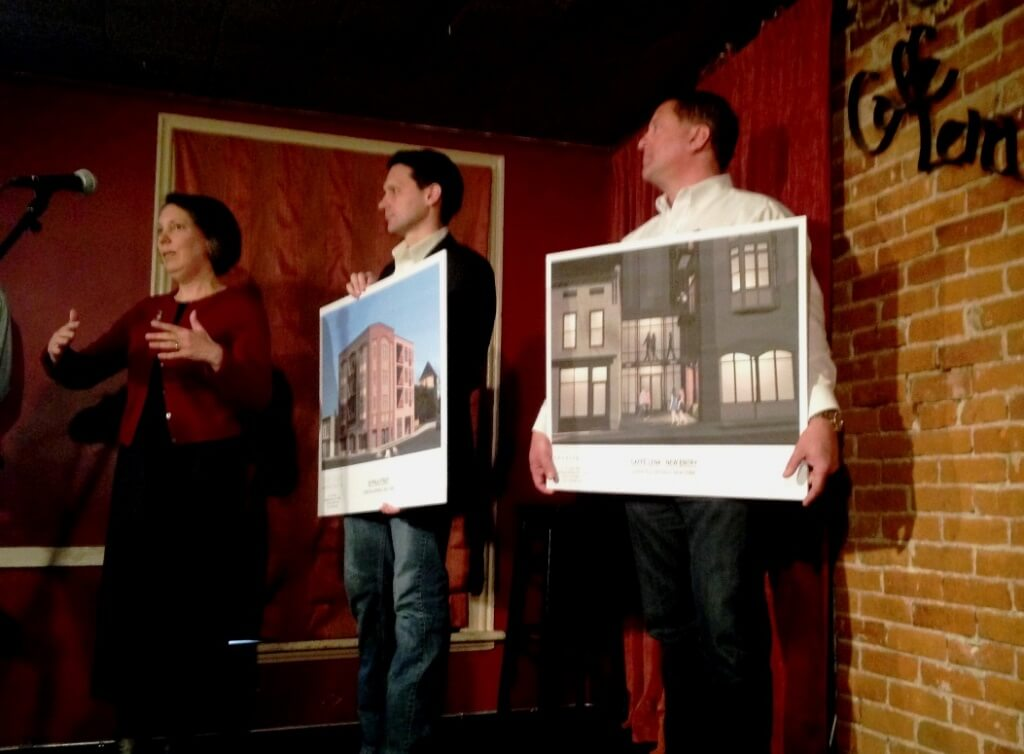 Tuesday's presser at Caffe Lena with cafe executive director Sarah Craig (l) and developer Sonny Bonacio (r) depicting plans for the new mixed-use building and the connector between the cafe and the new building