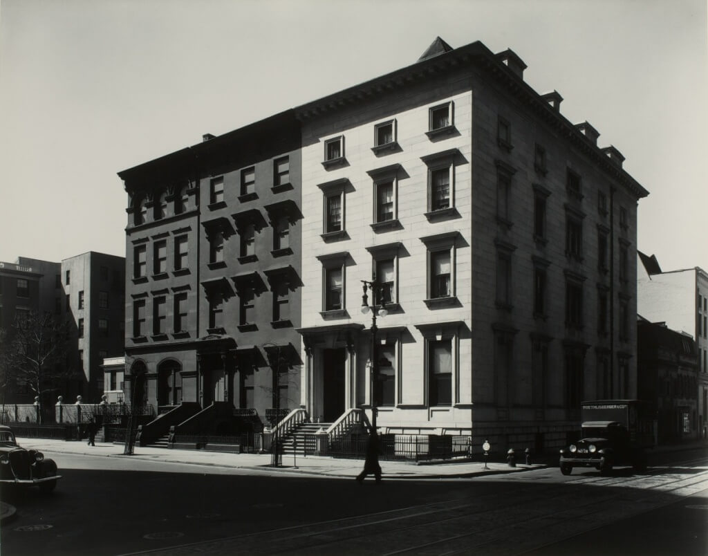 Berenice Abbott, Fifth Avenue Houses, Nos. 4, 6, 8, 1936, gelatin silver print (Borrowed Light: Selections from the Jack Shear Collection)