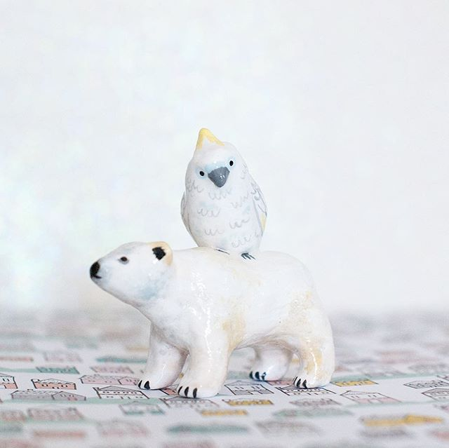 Another in the Best Friends Animal Collection: Polar Bear and Cockatoo. Available soon! #animalbestfriends #periwinklenuthatch