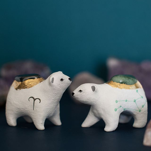 Astrology Polar Bears coming soon! So far I have made ♈️ Aries and ♍️ Virgo (pictured). The stones are hematite and aventurine, respectively. ♏️ Scorpio and ♑️ Capricorn have just been completed and and I will give a sneak peek shortly. The complete collection will be available for the next shop update @onewilderness!