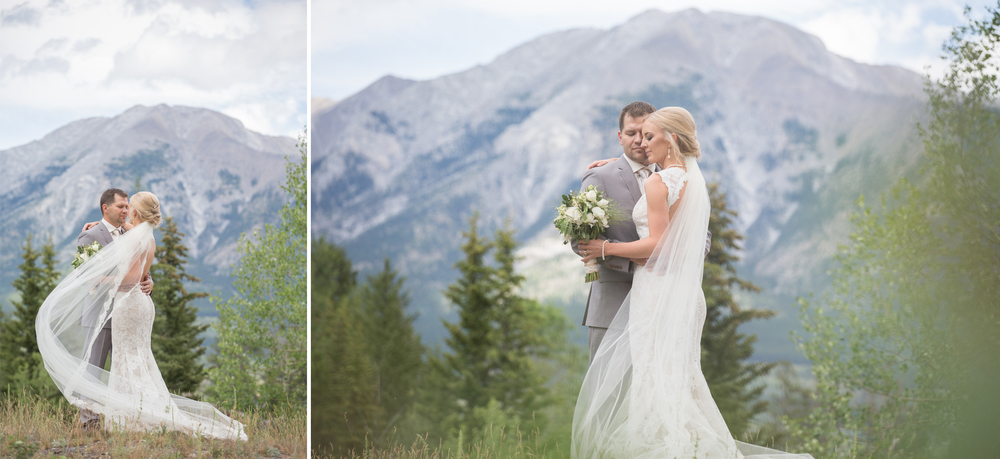 Epic mountain wedding photographs of a bride & groom in Canmore, Alberta