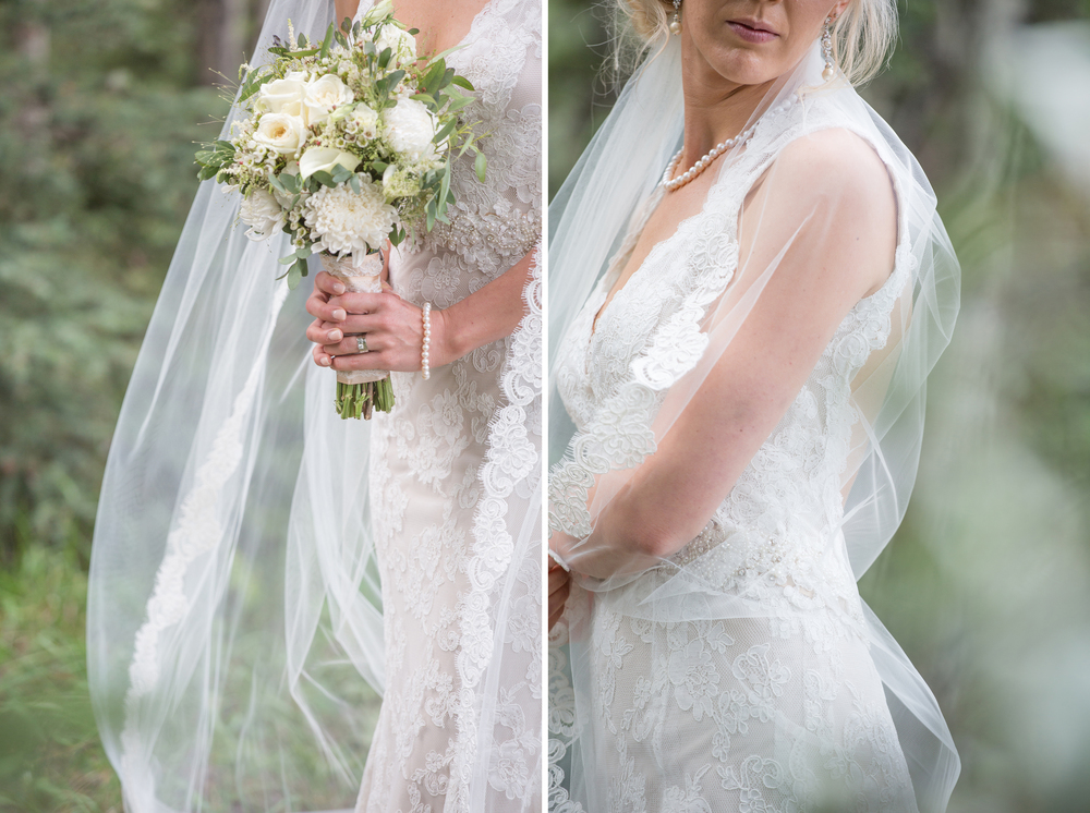 Dreamy wedding photography inspiration cathedral veil and lace dress in Canmore