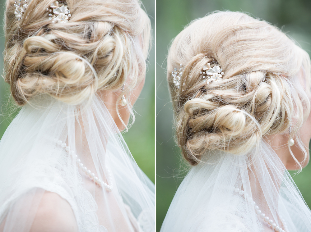 Bridal portrait featuring romantic hairstyle with underveil and pearl earrings.