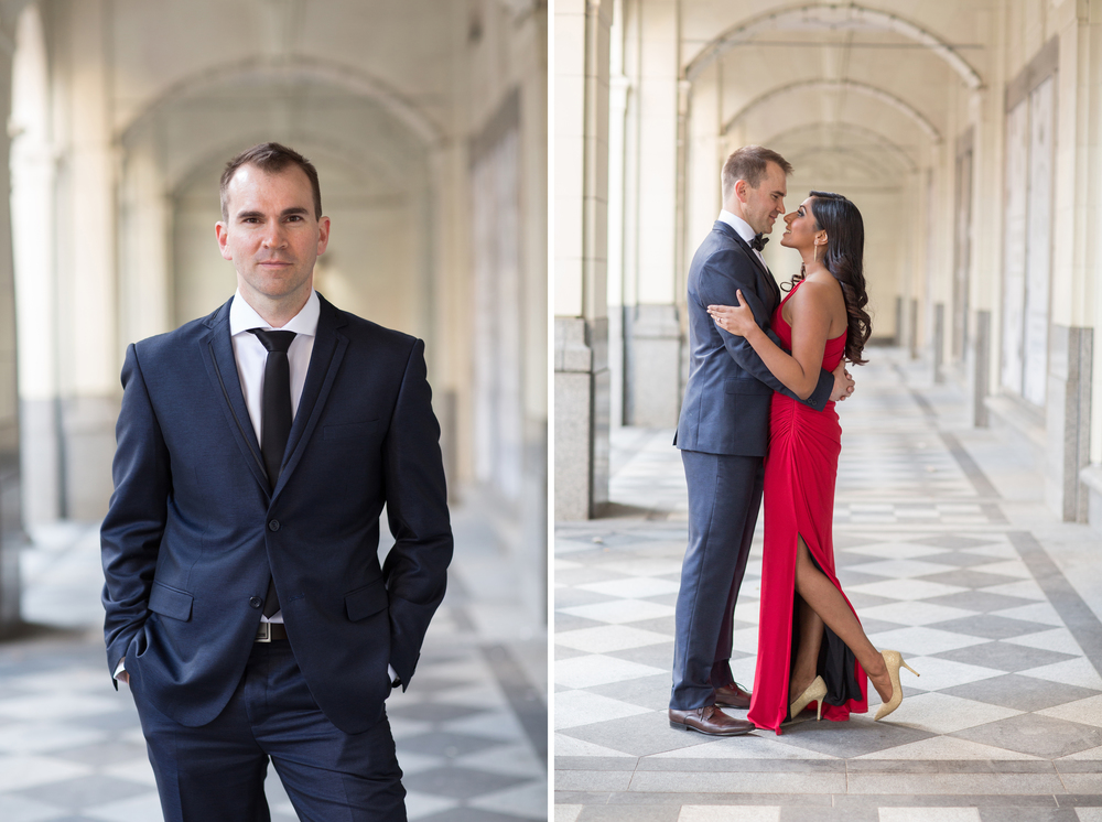 Stephen Avenue arches engagement session with tux and red dress
