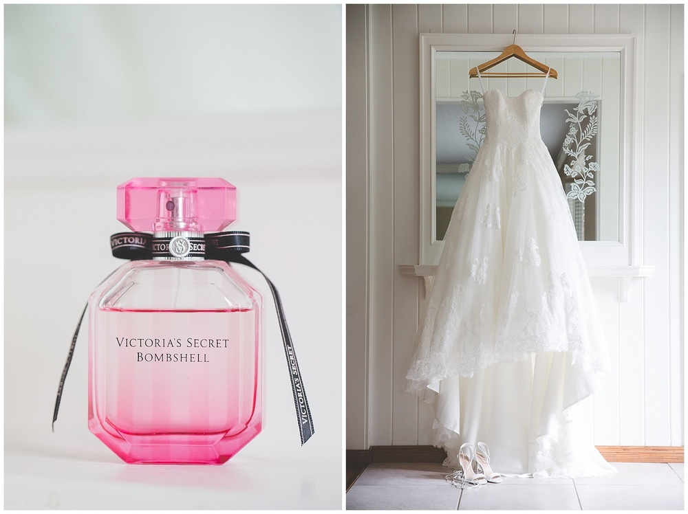 Calgary Bridal Details - Wedding Dress & perfume bottle