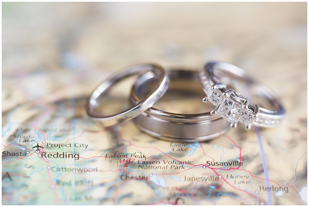 Wedding Rings photograph on map of California