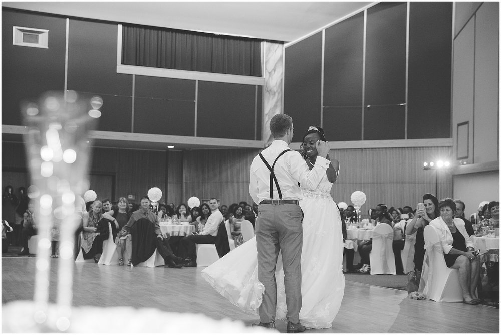 First dance at Calgary Polish Cultural Centre wedding reception photograph