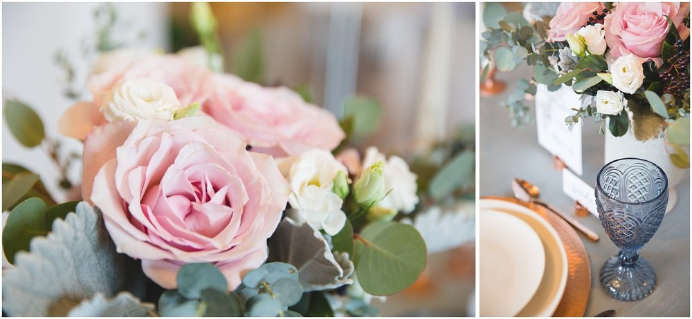 styled wedding table decor with copper and blue