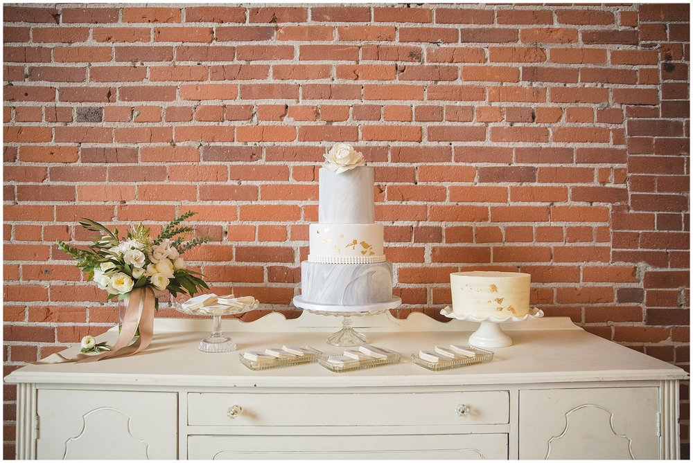 Marble and Gold Wedding Cake and Cookies by Cake Bake Shoppe Calgary