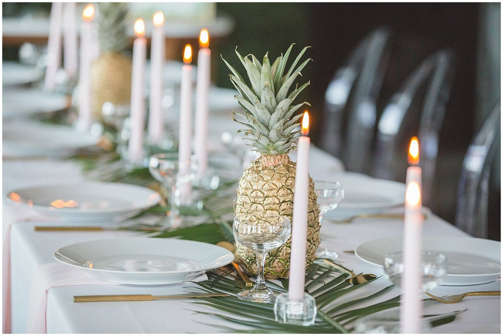 modern hawaiian bridal shower tablescape