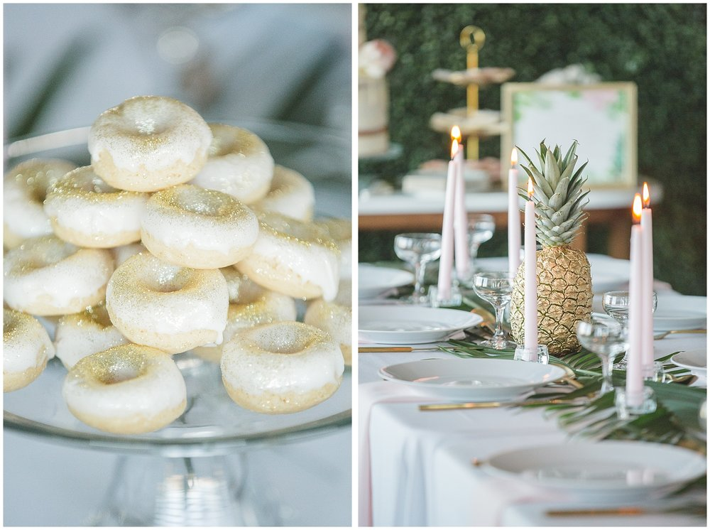 Sparkly donuts and golden pineapples decorate this modern bridal shower