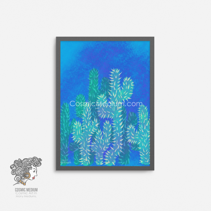 This 8-inch by 10-inch art print of a green cactus and the blue sky is a perfect touch of nature to any small room!