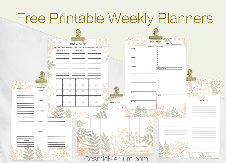 Free Printable Weekly and Monthly Planner Cosmic Medium – Free Printable Weekly Planner