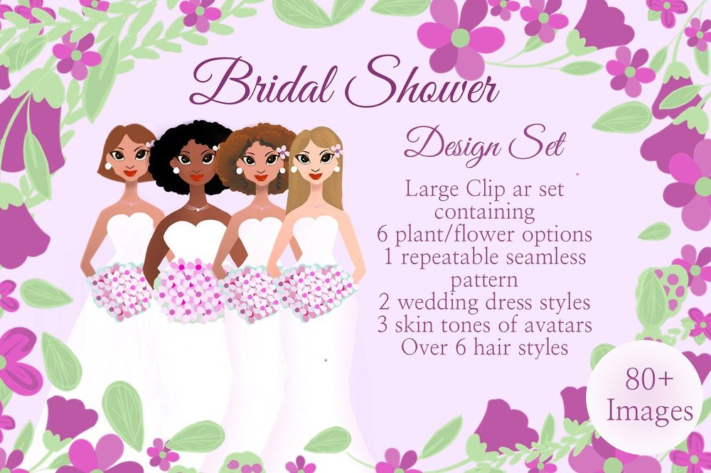 Bridal Shower Avatar Design Set graphics pack on creative market.