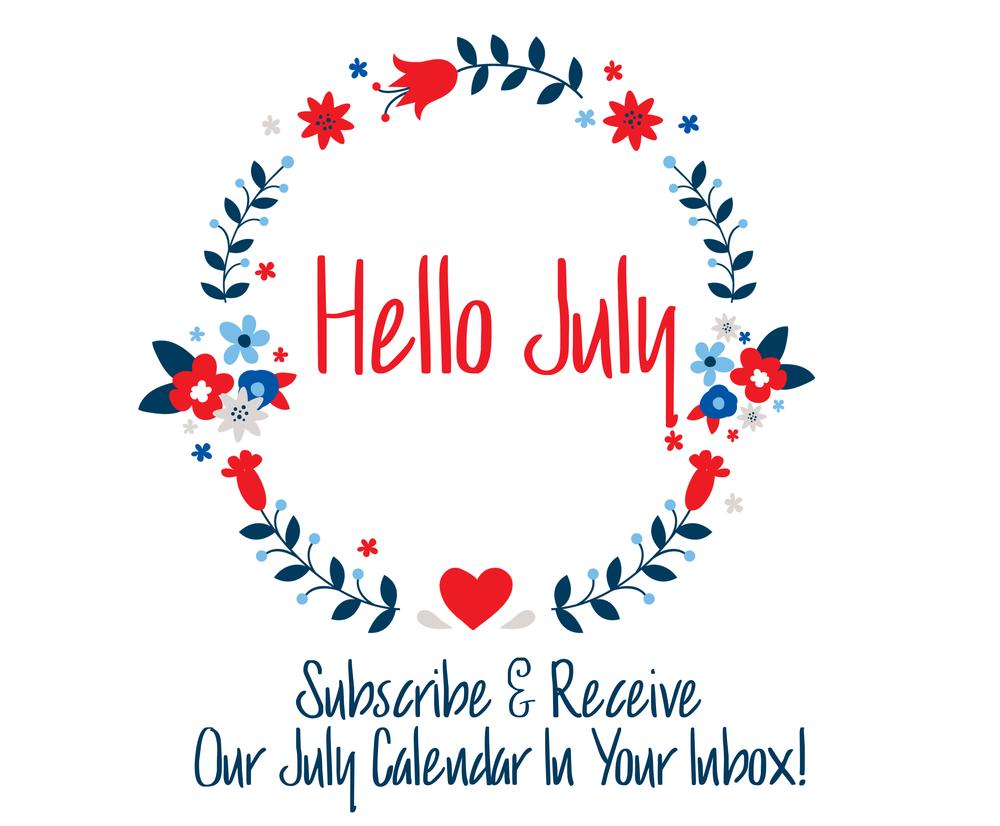 Hello July July Calendar
