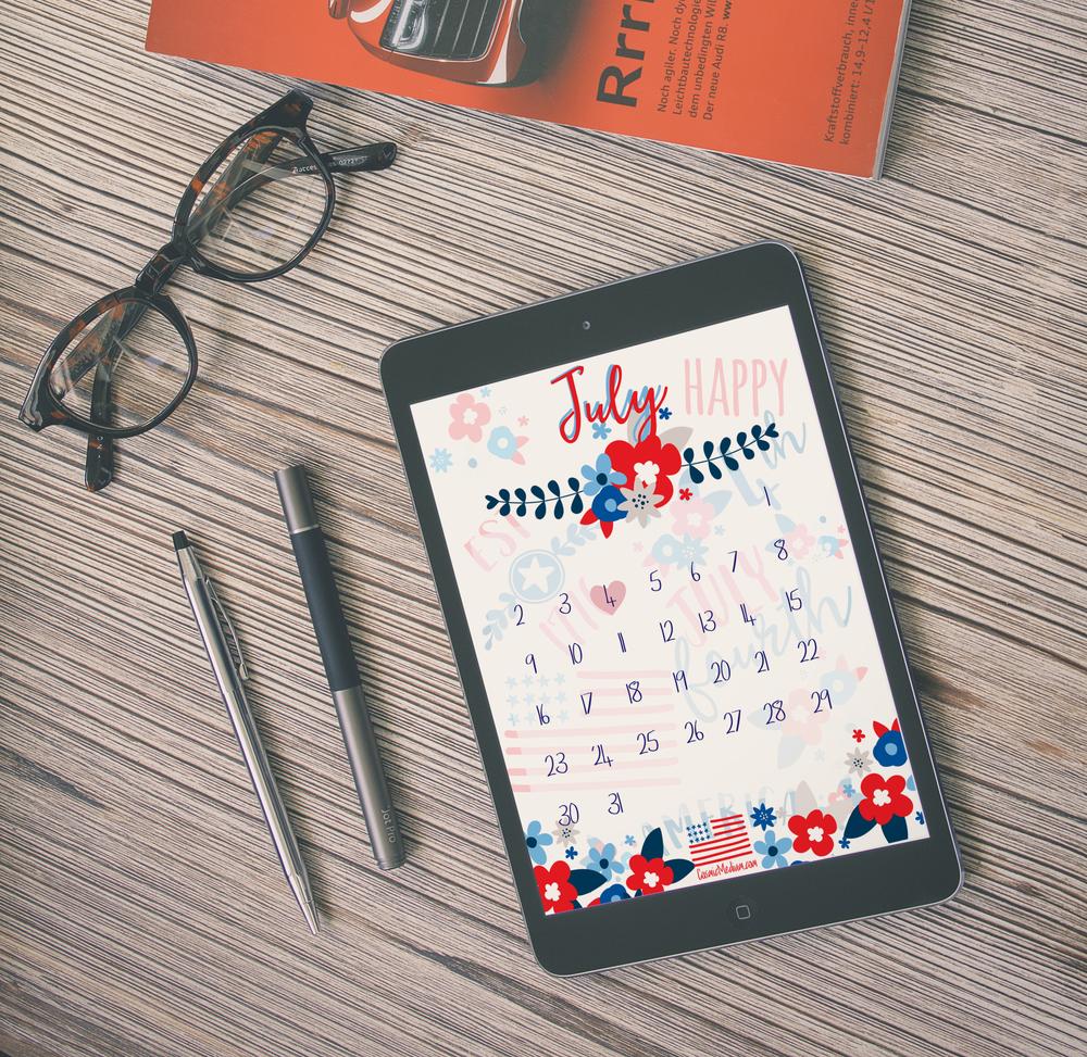July Calendar Mockup