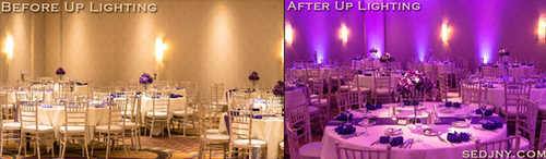 Event Up Lighting   Lighting Picture Video  or see  How it works   Up lighting is a really great way to make your reception stand out and turn that ordinary room into an extraordinary room. We use high powered LED lights, strategically placing them around the room illuminating the walls, columns or spotted onto a specific area that will bring a beautiful and stimulating feel to your event, making it AMAZING! You can choose any color you want; match the color of your bridesmaid's dresses, napkins, linens, or even you invitation. You can also add a second or ever third color to enhance certain areas, such as making the lights behind the head table white to draw more attention to the Bride & Groom. Enhance your event by using the lights in fun ways to bring energy to the room. Whether it be strobing the lights during the introductions or changing the color of the room all at once during dancing. Up lighting can also be used to light up a head table or cake table from underneath to draw attention to it. You can even take it a step further up light under every table in the entire room.