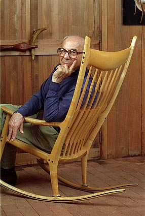 From Top: Sam Maloof, Circa 1972; Maloofu0027s Workshop, Photo By Michael  Stone; Spindle Back Chair, 1955, Photo By Jonathan Pollock; From Craft  Horizons, 1954; ...