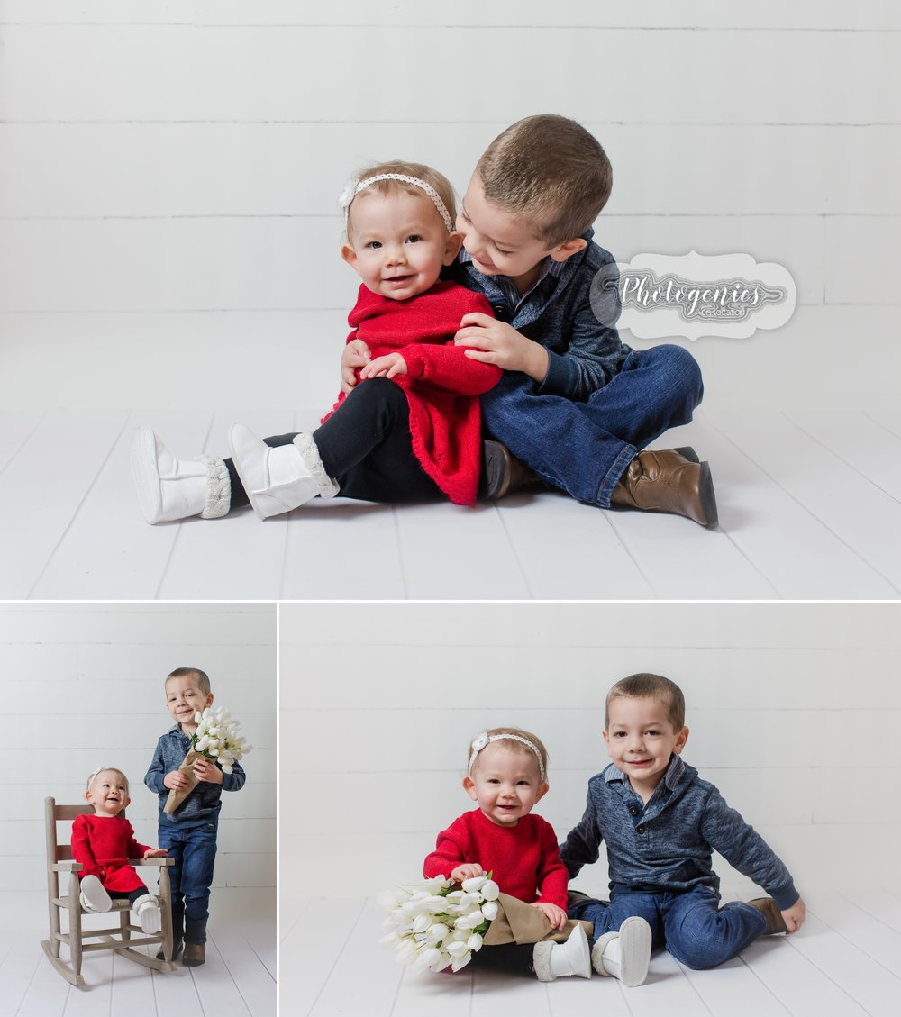 Birthday photo session. First birthday sibling photography. Brother and sister photography. big brother, little sister Valentine session. Boy Valentine Session. Photography Studio Session. Floral. Photo set ideas. Neutral photography.