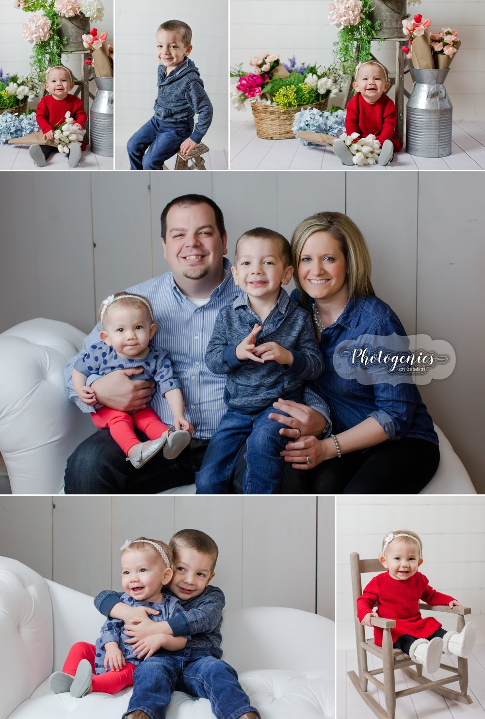 Birthday photo session. First birthday sibling photography. Brother and sister photography. big brother, little sister Valentine session. Boy Valentine Session. Photography Studio Session. Floral. Photo set ideas. Neutral photography. Family photography indoors.
