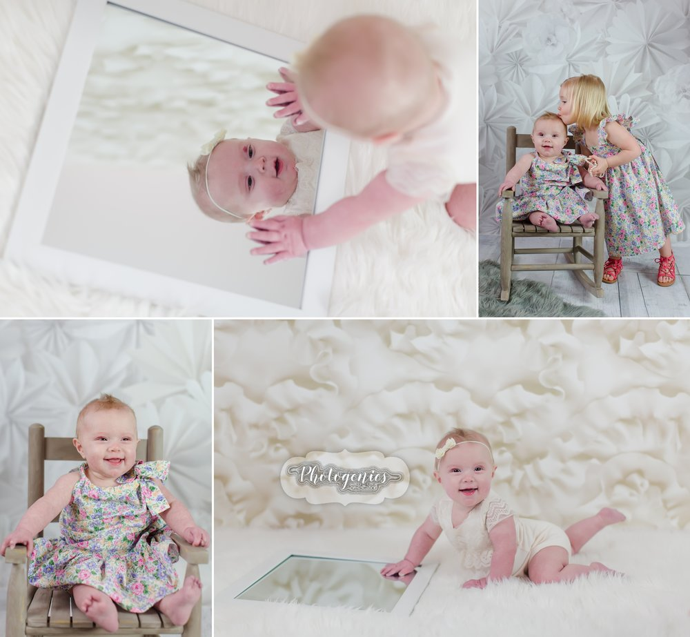 photography_studio_siblings_ideas_poses_what_to_wear_sisters_big_brother_6_months_sitting_up_girly_ideas_pearls_mirror_romper 5