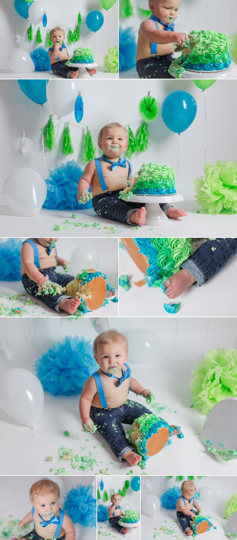 boy_bright_colors_cake_smash_photography_lime_blue_balloons_white_backdrop_ideas_vibrant_decor_ideas