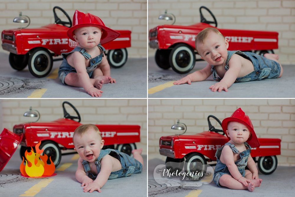 sitting_up_session_6_months_baby_boy_photography_firetruck_vintage_props_football_jersey_props_belly_poses 2
