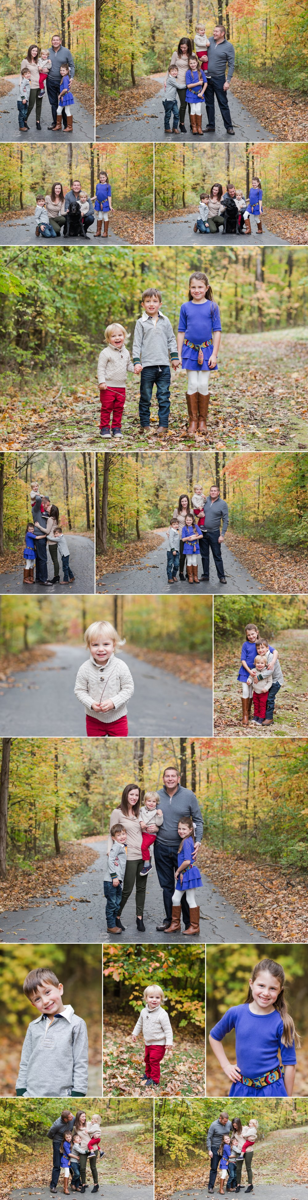 family_of_five_photography_fall_colors_session_leaves_dog_poses_missouri_st_louis_family_photographer_candid