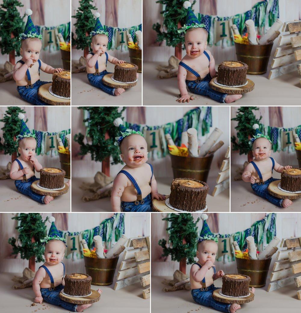 family_photography_fall_trail_candid_12_months_baby_cake_smash_blue_green_woodland_little_bear_theme_washington_mo_photographer 3