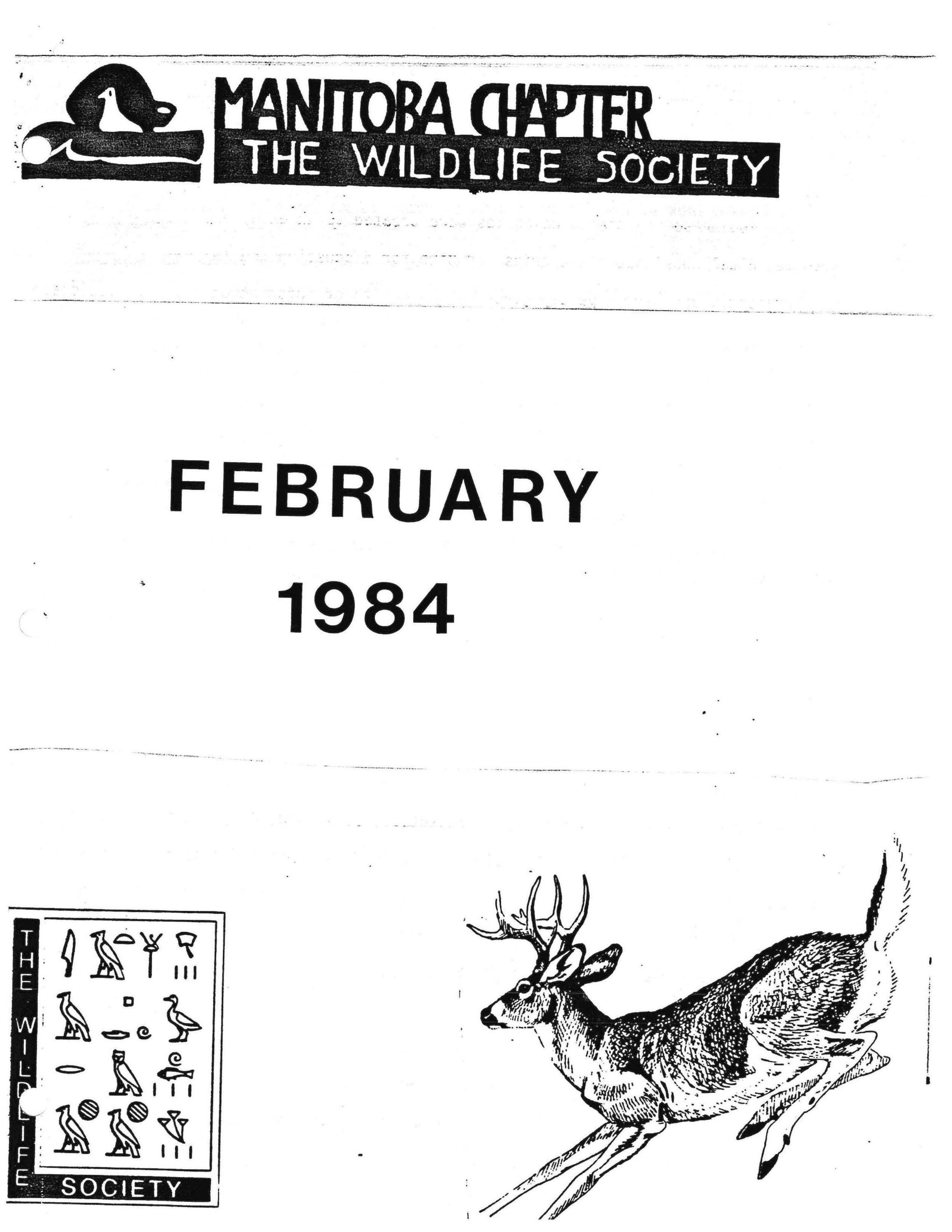 NEWS - 1984 Feb — THE WILDLIFE SOCIETY - Manitoba Chapter