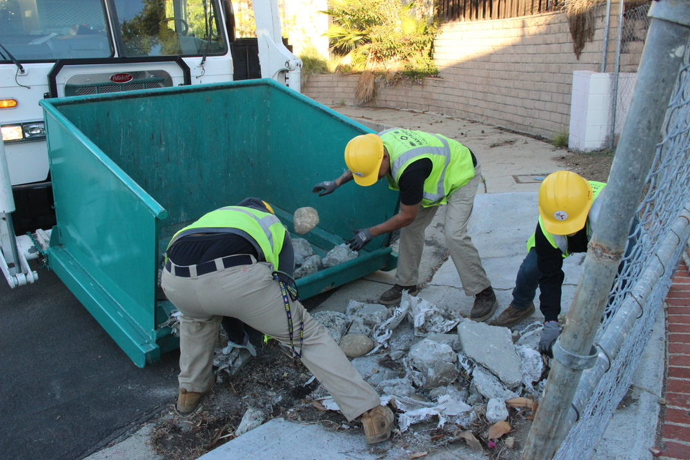 Several hundred pounds of cement illegally dumped on a sidewalk in Eagle Rock.