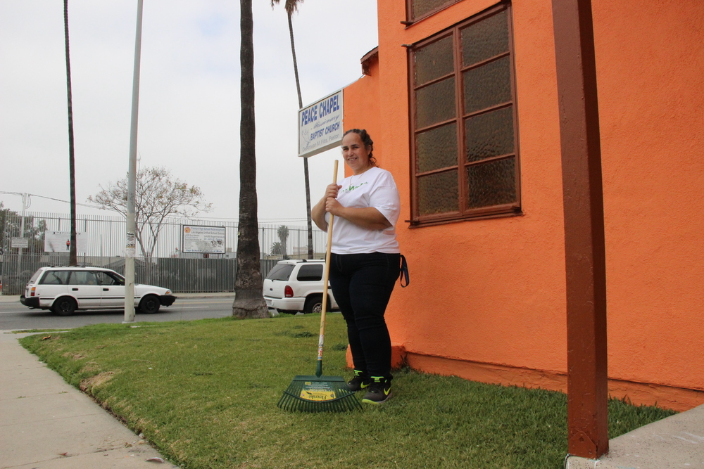 """I am out here to help clean up my community. I love my church and my church is my community. I'm tired of looking at the trash and dirt everywhere. Our kids need to see something better than what they are seeing. Think about themselves and call 311 to make things better. It's that simple."""
