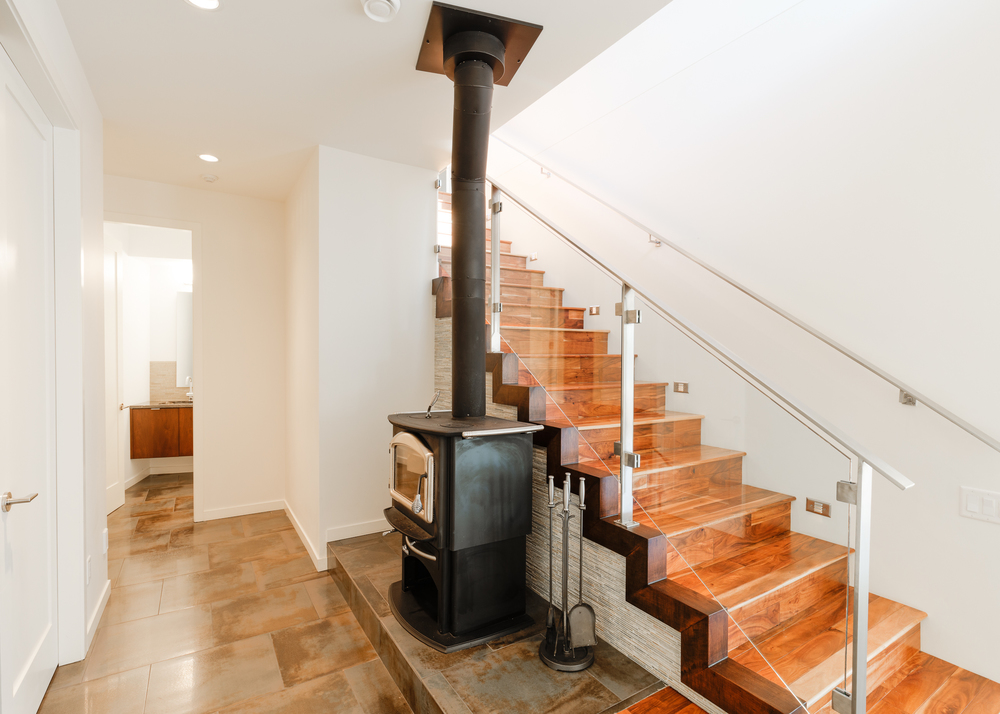 Stairs up to main level