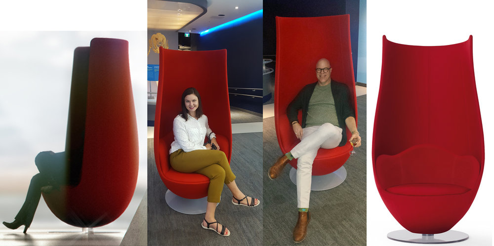 Trying out the stunning Tulip Chair by Marcel Wanders, Manufactured by Cappellini and available thru Anthony Allan