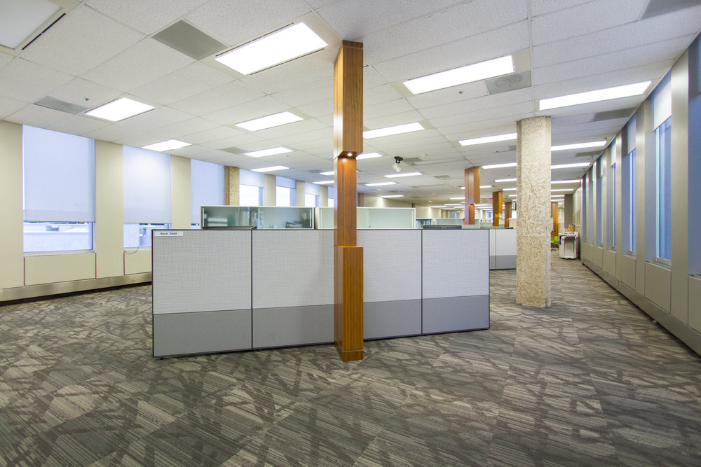 Open Work Area - Angled Cubicle groupings
