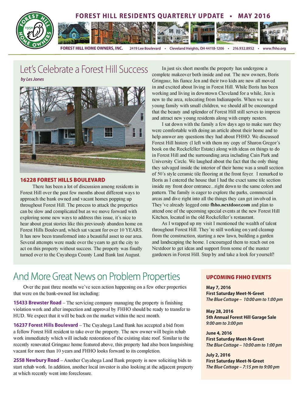 Forest Hill Home Owners Newsletter - May 2016