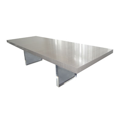LUCITE SLAB LEG DINING TABLE