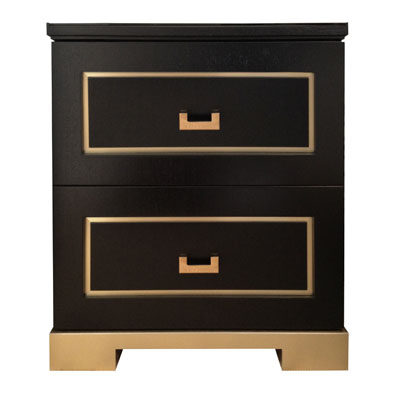 WOOD AND BRASS NIGHTSTAND