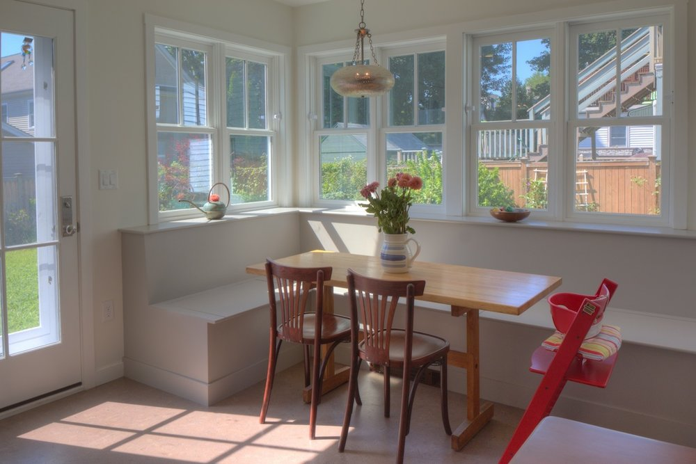 New sunny breakfast nook and built-in seat