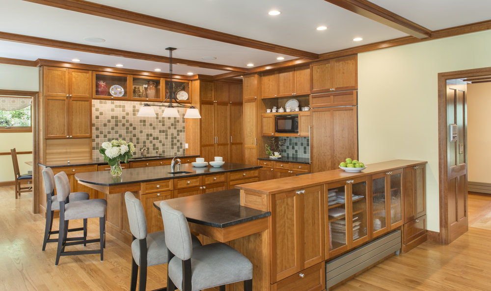 Custom kitchen with wood beams
