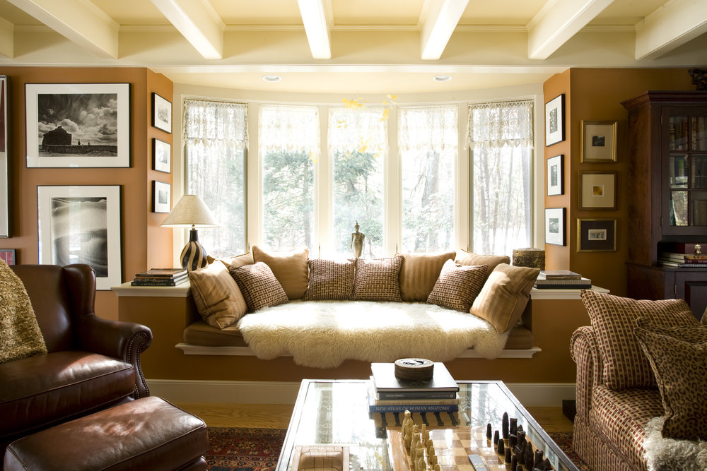 Custom built-in seat with beam ceiling