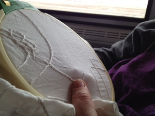 Free-form embroidery on the Amtrak train, the Pennsylvanian, April 2014.