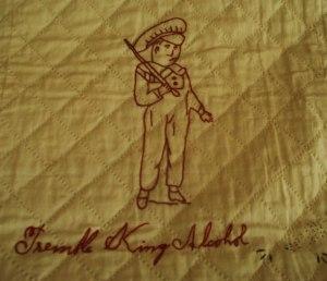 """Temperance quilt image, """"Tremble King Alchohol,"""" Frances Willard Archives, Evanston, IL"""