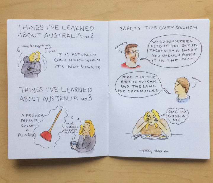 1, 2, 3, australia 1, 2, 3, australia is a preview zine of excerpts from a year-long travelogue kept between 2014-2015. 4.25 x 5.5, full color, saddle stitched. 12 pages, nov. 2015.