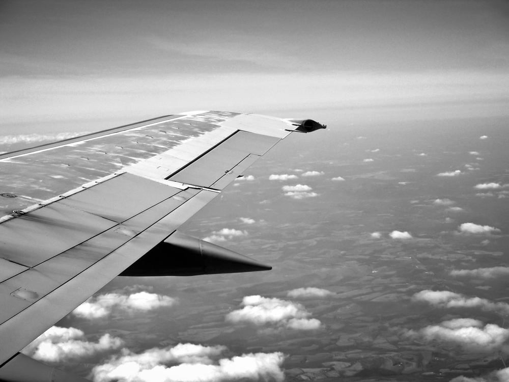 Blick aus fliegendem Flugzeug