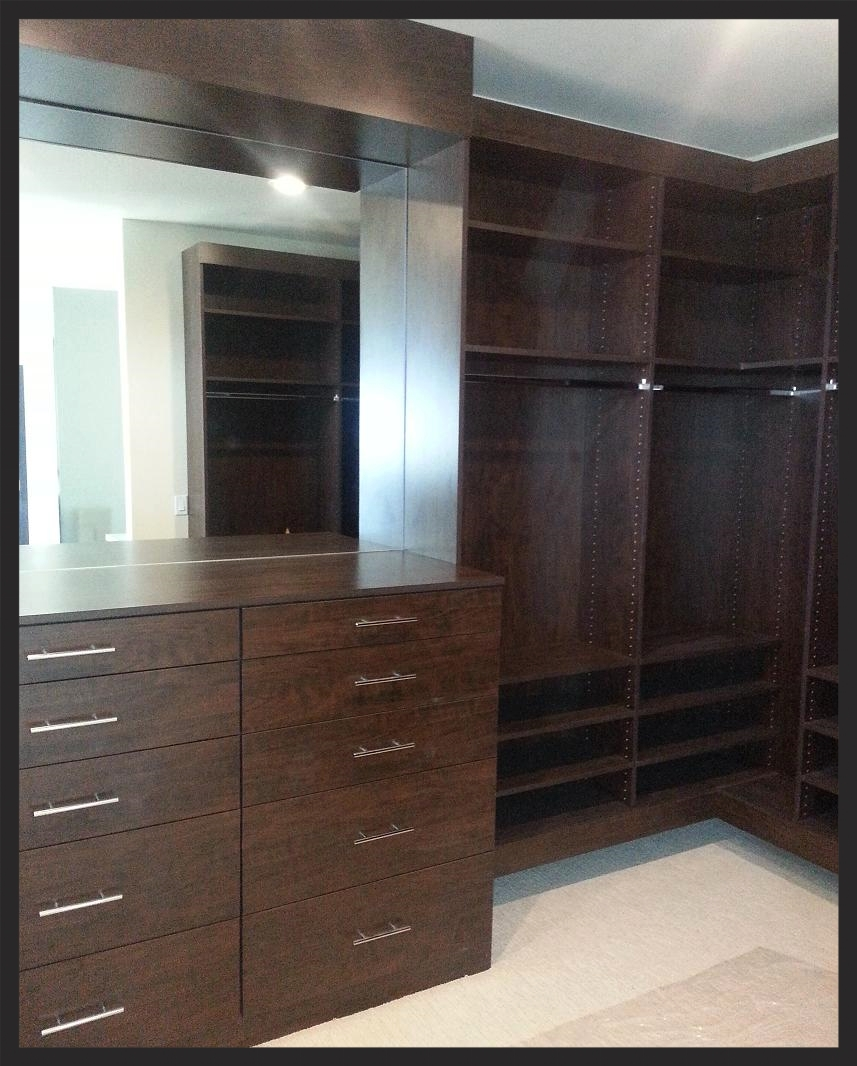 Dark Wood Closet with Backs