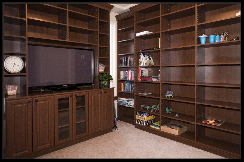 Dark Wood Entertainment Center and Shelves