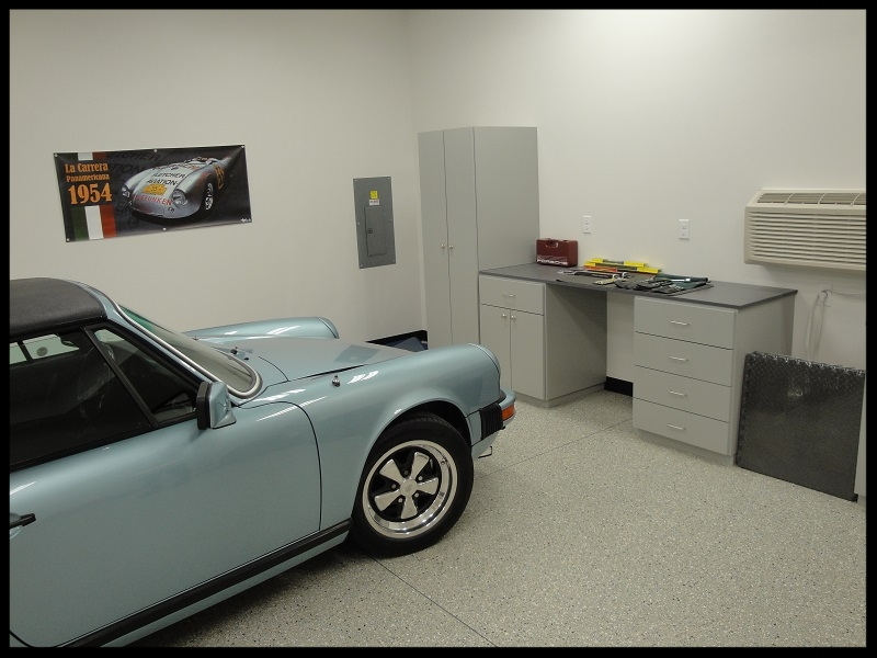 Grey Garage with Porsche