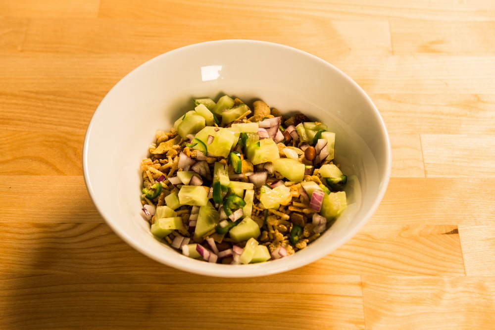 Add on top the Cucumber, Red Onion & Serrano Chili diced mix.